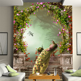 peacock wallpaper 3d Promo Codes - 3D stereo personality peacock figure garden floral wallpaper European TV background wallpaper aisle porch murals corridor wall decoraction