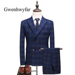 Deutschland Gwenhwyfar Neueste Coat Pant Designs Dark Blue Plaid Hochzeit Männer Smoking Zweireiher Anzüge Slim Fit Groomsmen Hochzeitsanzüge supplier dark blue coat pant Versorgung