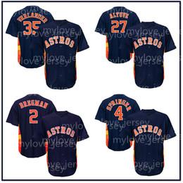 azul escuro basebol jérsei Desconto Mens Astros 34 Nolan Ryan Houston Camiseta de beisebol 2 Alex Bregman 27 José Altuve 35 Justin Verlander 4 George Springer Camisas azul escuro