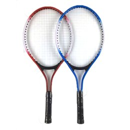 tennis rackets wholesale Coupons - Child Teens Tennis Racket Aluminum Alloy Racquet Fibre Mesh Wire Resistance To Fall Birthday Gift Factory Direct Sales Blue Red 13 5sjC1
