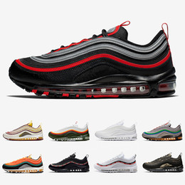 Unisex laufschuhe online-Nike air max 97 shoes Bred airmax 97 Mens Running shoes Realtree White Evergreen Sunburst UNDEFEATED UNDFTD Olive Triple black Team Red Men women sports Sneakers 36-45