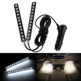 door strips Coupons - 12 LED Car SUV Interior Footwell Floor Decorative Atmosphere Light Neon Strips Car Interior Light White