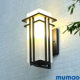 Applique da parete esterne online-Lampada da parete moderna per illuminazione esterna Applique da parete impermeabili Portico Light Up e Down Fixture Corridoio Nero opaco Corridoio