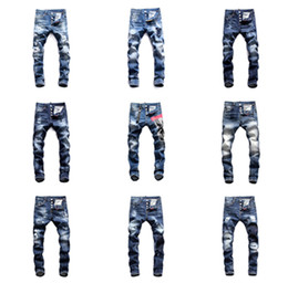 man lower pant Promo Codes - 2019 Top Quality Brand ds2 mens designer jeans d2 jeans Men Denim black Jeans Embroidery Pants Fashion Holes Trousers Italy Size 44-54