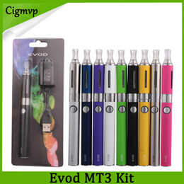 Evod mt3 clearomizer tanque on-line-Evod MT3 Blister Starter Kits E-cigarro Kit 650/900/1100 mah MT3 Tanques E Cigarro EVOD Atomizador Clearomizer Evod Bateria USB Carregador