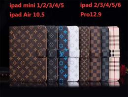 """Étui en cuir pour apple ipad en Ligne-Etui à rabat en cuir monogramme classique pour Apple iPad Pro 12.9 """"/ iPad Air 3 Porte-monnaie Porte-carte de crédit pour iPad mini 1 2 3 4 5"""