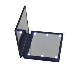 Canada 1 PC Mode Femmes Dames Make Up Mirror Cosmétique Pliant Portable Compact Poche avec 6 LED Outil De Maquillage Meilleur Cadeau Offre