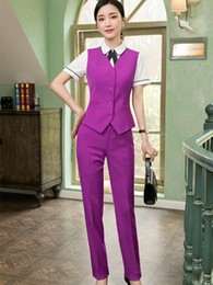 gilet uniforme viola  Sconti 2 piece set donne di alta qualità formale Viola Suit Pant Office Lady uniforme Design Slim Affari Vest e mutanda di usura Work