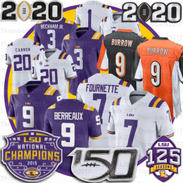 2020 5 cuenco LSU Tigers Jersey 9 Burreaux Odell Beckham Jr. Leonard Fournette Tyrann Mathieu Patrick Peterson 5 Guice 150o Peach Bowl Champions jerseys 5 cuenco baratos