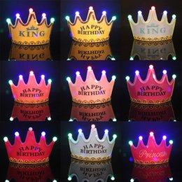 2020 cascos de corona Led Crown Hat Christmas Cosplay King Princess Crown Led Happy Birthday Cap Luminous Led Christmas Hat Colorful Sparkling Headgear DHL GRATIS cascos de corona baratos