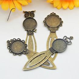 2019 tulipani di fiori Alloy Cameo Flower Owl Crown Segnalibri in acciaio da 20 mm Impostazioni cabochon rotondi Gioielli Fascino bianco Impostazioni gioielli Accessori tulipani di fiori economici