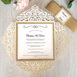 invitaciones de máscara Rebajas Invitación de boda de marfil del corte del laser frontera de Rose del brillo del oro de lujo brillante con la correa y la etiqueta para imprimir invitaciones de bricolaje encaje de quinceañera