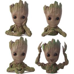 figurine di raccolta Sconti Baby Groot Flower Pot Plant Tree Guardiani della Galassia Action Figure Model PVC Kids Toys Collezione Movie Garden Pot Decoration Figurines