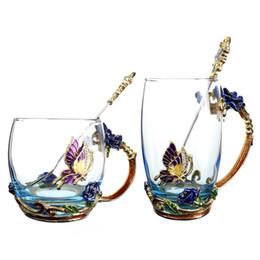 2019 copo de vidro colher Copo de café de vidro transparente esmalte chá azul Rosas copo de resistente ao calor conjunto com colher de aço inoxidável Coaster e pano de limpeza copo de vidro colher barato
