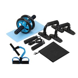 abdominal exercise equipment fitness Coupons - 5-in-1 AB Roller Kit Abdominal Press Wheel Pro with Push-UP Bar Jump Rope Knee Pad Gym Home Exercise Fitness Workout Equipment