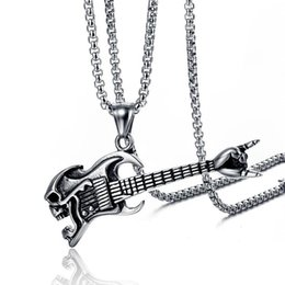 stainless steel guitar slide Coupons - Fashion Rock Guitar Necklaces - HIP HOP Musical Stainless Steel Necklace Pendant For Men Women Jewelry Gift ( 2 Colors)