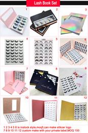 16 par vison cílios livro de chicotes de embalagem private label personalizado 3d mink cílios livro de embalagem de Fornecedores de livros de pacotes