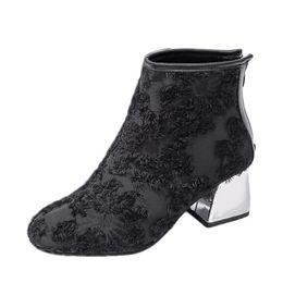 Salto alto on-line-Charm2019 Chegada Mulheres Botas De Salto Alto Ankle Boots Chunky Heel Senhoras Curto Zipper Sapatos Femininos