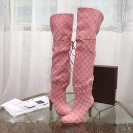 Guarnições de borracha on-line-Mulheres marca Couro Knot guarnição Over The Botas Designer Lady Canvas Gaiter salto alto sola de borracha Coxa-botas altas