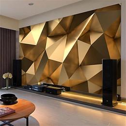 2019 пластиковые мозаичные плитки Пользовательские Фото обои 3D Stereo Аннотация Космический Золотой Геометрия Mural Современное искусство Творческий Living Room Hotel Study Обоев 3 D