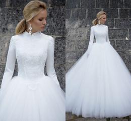 tüll geschichtetes modernes hochzeitskleid Rabatt Long Sleeves Muslim Wedding Dresses 2019 Elegant High Neck Long Sleeves Lace Satin Tulle Floor Length Ball Gown Bridal Dresses Wedding Gowns
