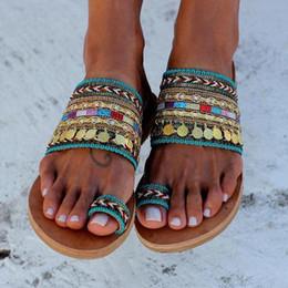 Scarpe boho online-Donne sandali artigianali infradito a mano stile greco boho flip flop femminile scarpe basse vintage chanclas de mujer big size 43
