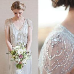 Wholesale 2019 Grande Gatsby luxo cristal Ggarden vestidos de noiva Modest Cap luva cheia frisada País Bohemian vestido de noiva Jenny Packham