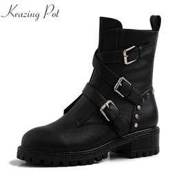 2019 bottes de moto filles krazing pot en ligne star cuir de vachette naturelle beau fille punk rock conception boucle sangles fermeture à glissière med talons moto bottes l33 bottes de moto filles pas cher