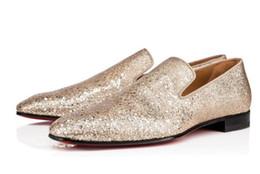 2020 zapatos de vestir de los hombres de champán Champagne Gold Bling Bling Glittery Men Shoes Zapatos formales Hombres Party Wedding shoe Zapatos de vestir zapatos de vestir de los hombres de champán baratos
