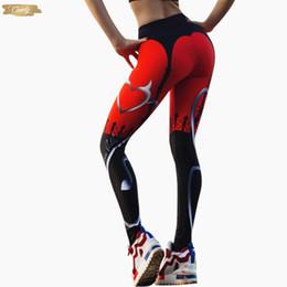 Calça de spandex vermelho on-line-Moda de Nova Sexy impressão Leggings Mulheres Red Preto Retalhos listrados Sporting Pants Coração Impresso aptidão das mulheres Leggings