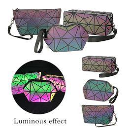 Bolsa de viaje plegable online-Shujin manera de las mujeres de la cremallera bolsa de cosméticos de maquillaje luminoso Bolsa geométricas Cosméticos organizador del viaje plegable Maquillaje Bolsas