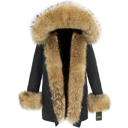 Зимнее пальто женщин съемное онлайн-Winter Jacket Women Real Fur Coat Natural Raccoon Fur Hood Waterproof Long Parka Detachable Streetwear  Parkas Warm