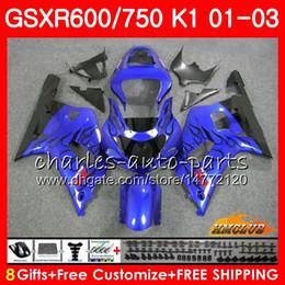 2019 kit gsxr k1 Corpo 8Gifts Para SUZUKI GSXR600 GSX R750 K1 GSXR-600 GSX-R750 4HC.64 GSXR750 GSXR 600 750 01 02 03 2001 2002 2003 azul preto kit de Carenagem Quente desconto kit gsxr k1