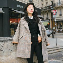 herbst mode weiblichen koreanischen kleidung Rabatt Neue Korean Herbst Herbst Winter Mode Wollmischungen Vintage Lose Plaid Langen Mantel Lässig Frauen Mäntel Weibliche Jacken Plus Kleidung