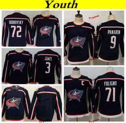 Youth Columbus Blue Jackets 2019 72 Sergei Bobrovsky 71 Nick Foligno 3  Jones 9 Artemi Panarin Hockey Jerseys Kids Girls Boys Stitched Shirts db963982d