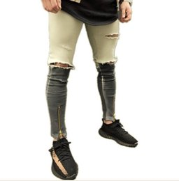 New Men's Ankle Length Slim Jeans Streetwear Holes Summer Ripped Pencil Pants Trousers Casual Denim Skinny от Поставщики джинсы для мужчин