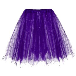 girls tutu layered skirt Promo Codes - Skirts Woman Fashion 2019s Paillette Elastic 3 Layered faldas mujer moda Short Skirt Adult Tutu Dancing Girl faldas Mini Skirt