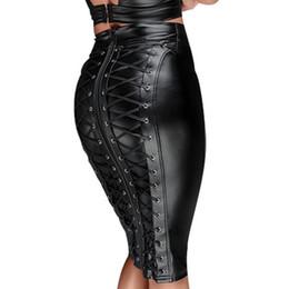 2019 tiere sexy heiße frauen Gothic Wet-Look schwarz Kunstleder Rock Sexy Punk Rückseite Reißverschluss schnüren sich oben Wrap Bleistiftrock 2018 Sommer Bodycon Midi Röcke für Frauen