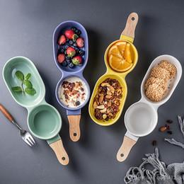 2019 ciotola di noci Nordic Ceramic Multi-fruit Lattice Bowl Doug Piatto di frutta Condimento Snack Seeds Nuts Fries Plate Home / Restaurant Dinnerware ciotola di noci economici
