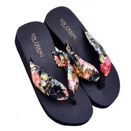 sandali cunei neri floreali Sconti Pantofole infradito da donna con zeppa in plateau con zeppa floreale da spiaggia in boemia da donna di moda calda 36