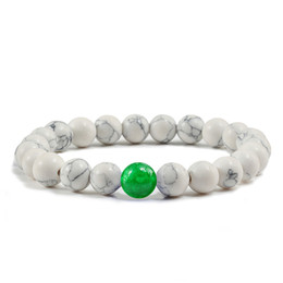 Эластичные браслеты онлайн-Natural White Bracelets Black Pine Stone Beaded Bracelet&Bangles With Chalcedony Women Elasticity Jewelry Men Charm Accessories