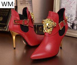 26f0d552ff 8 Fotos Compra Online Botines rojos-Duping520 Top Botines rojos de cuero  para mujer Tacones altos Equitación