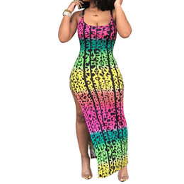 Xl graffiti kleider frauen online-Graffiti-Druck-lange Boho-Kleid-Frauen Robe Elegante Vintage Sleeveless Verein-Kleid-Spaghetti-Bügel-Split Backless Vestidos