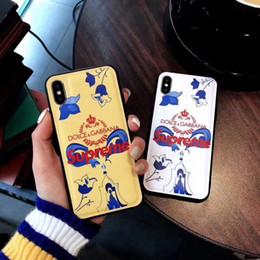 hermosa cubierta del iphone Rebajas Funda de teléfono de lujo de una pieza para iPhone 6S 7P X XS moda hermosa dibujo nueva funda de teléfono de diseñador para regalos