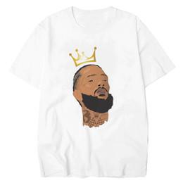 Персональные футболки онлайн-Nipsey Hussle Мужские дизайнерские футболки с круглым вырезом с коротким рукавом из мультфильма с набивным рисунком Повседневная одежда Футболки Homme