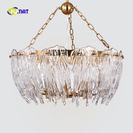 FUMAT Gold Post moderna goccia d'acqua o rettangolare K9 Crystal Stainess acciaio LED illuminazione a sospensione Lampada di lusso per casa duplex da