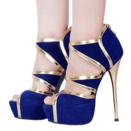 tacones altos de gamuza azul Rebajas Legzen Mujeres Sexy Sandalias de tacón de fiesta Casual Faux Suede Plataforma Tacones altos Sandalias Zapatos azules para mujer Tamaño grande 4-20