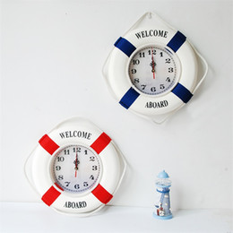 Relojes de pared azul online-Life Buoy Reloj de Pared Rojo Azul Decorar Relojes Casa Adornos Colgantes Mute Bienvenido a bordo Creativo Ventas Calientes Moda 28zsC1