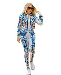 2bccc23905f7 Joiekuno Print Zipper Sexy Long Jumpsuits blusas mujer de moda 2019 V neck  Two piece set Women Set Los pantalones YC1609