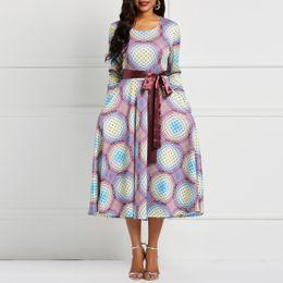 lila skater kleider Rabatt Frauen Midi Kleider Vintage Elegante Mode Hohe Elastizität Geometric Print Weibliche Mode Retro Lila Plus Size Skater Kleid